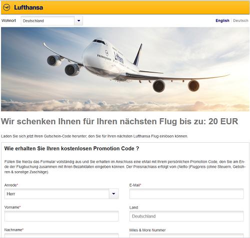 Lufthansa Gutschein sichern